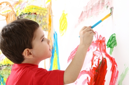 the boy is painting